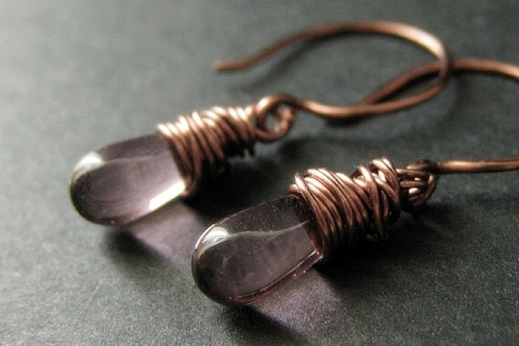 COPPER Earrings - Purple Dangle Earrings, Wire Wrapped Copper Drop Earrings. Handmade Jewelry.