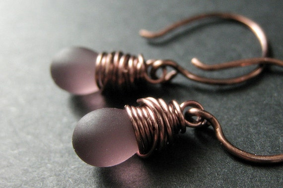 COPPER Earrings - Purple Drop Earrings with Clouded Glass Teardrops, Wire Wrapped Earrings. Handmade Jewelry.
