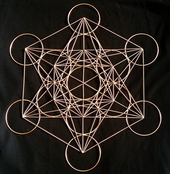 "Metatron's Cube in copper- 20"" copper form"