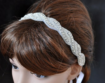 Beaded Trim in Silver Headbands - Wedding Headpiece - Ribbon - Crystal - Accessories - Bridal - Wedding - Rhinestone headband