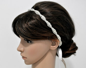 Ready to ship - Beaded Trim in Silver Headbands - Wedding Headpiece - Ribbon - Crystal - Accessories - Rhinestone headband