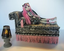 Furniture for Monster High Dolls Handmade Chaise Lounge Bed for Rochelle Goyle with Bolster Pillow Table and Working Lamp