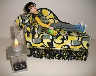 Furniture for Monster High Dolls Handmade Chaise Lounge Bed for Jackson Jeckyll with Bolster Pillow Lab Table and Working Lamp