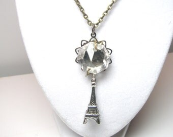 Romantic Paris Eiffel Tower Silver Necklace