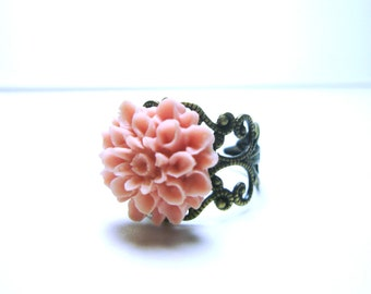 Pink  Flower Ring Vintage Style Ring Antique Brass Filigree Adjustable