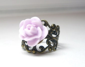 Purple rose ring -Violet Flower Ring - gift for her -Vintage Style Ring- Antique Brass Filigree Adjustable -sale