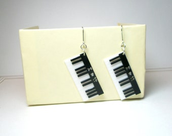 Piano  music  Sterling Silver Hoops Eearrings
