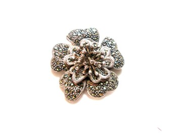 Vintage 925 Sterling Silver Marcasite Flower Brooch -  Free Shipping  Worldwide