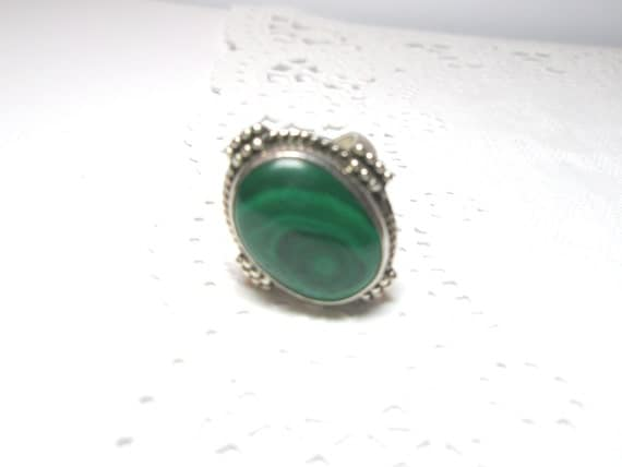 Unique Vintage Natural Malachite Sterling Silver .925  Ring Free Worldwide  Shipping