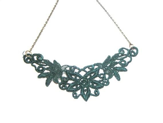 Lace Necklace - Green Romantic Bridesmaids, Bib, statement,  flower, garden, wedding