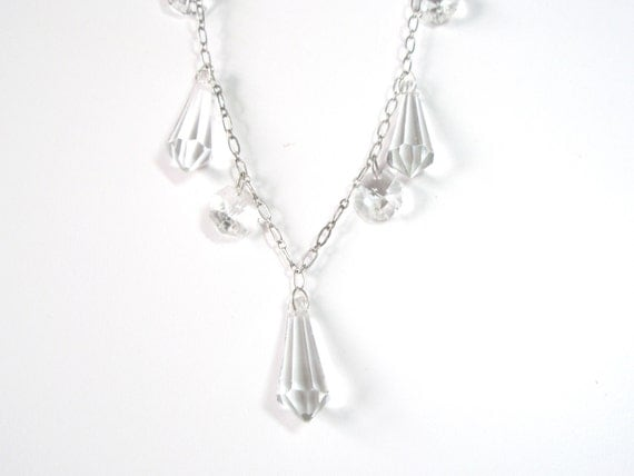 Crystal Clear Prism Necklace Silver tohne chain free shipping for her under 40