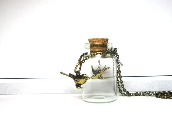 Kiss Me -   Miniature  Glass Bottle  Pendant - Birds  Necklace
