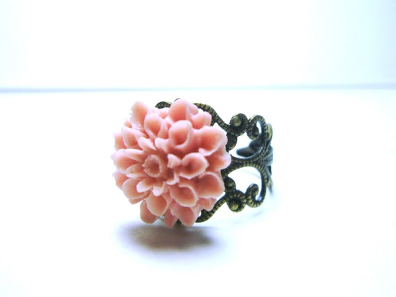 Pink  Flower Ring Vintage Style Ring Antique Brass Filigree Adjustable