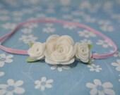 Baby Headband - White Flower Headband - Pure Wool Felt Flowers - Infant Hair Accessories - Pink and White Headband - 0-3 Months - HB1303
