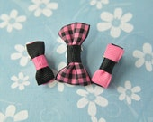 Baby Clips - Baby Punk Bows - Set of 3 Itty Bitty Clips - Pink & Black Bows - Baby Bows - Baby Girl Bows - Baby Hair Accessories