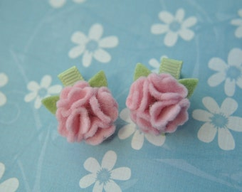 Wool Felt Flower Clips - Light Pink Pom Flower Clips -  Tinker Toes Clips - 100% Pure Wool Felt - Toddler Clips - Itty Bitty Clips - IBC1110