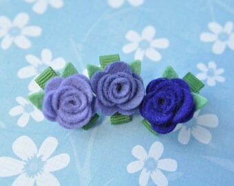 Tiny Wool Felt Flower Clips - Set of 3 Purple Flower Clips - Pure Wool Felt - Toddler Clips - Girl Hair Accessory - Itty Bitty Clips IBC1112