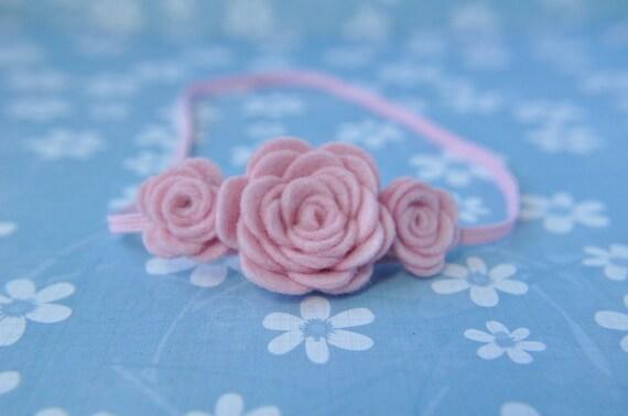 Baby Headband - Baby Pink Flower Headband - Pure Wool Felt Flowers - Infant Hair Accessories - Pink Headband - 0-3 Months - HB1301