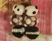 Beaded earrings - black, white and pink. stripes and spots mk9