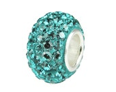TURQUOISE Swarovski Crystal Charm Bead W/ 925 Sterling Silver SOLID Core Fits Trollbeads Chamillia Biagi & European Charm Bracelets