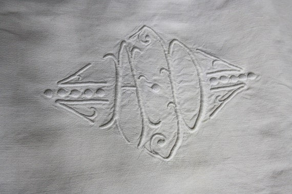reserved, french vintage linen sheet, hand embroidered , monogram and flowers, ladder work, heavy linen