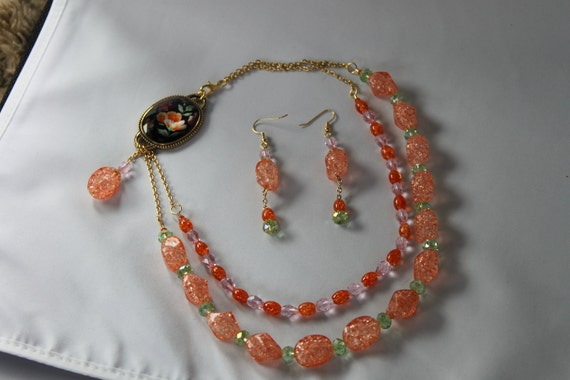 Vintage style double strand necklace and earring set  OOAK
