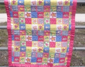 SALE-Hand-Stitched Butterflies/Flowers  Baby Quilt