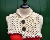JULIE Crochet Cowl, in Ivory and Red berry Organic Pure Wool.
