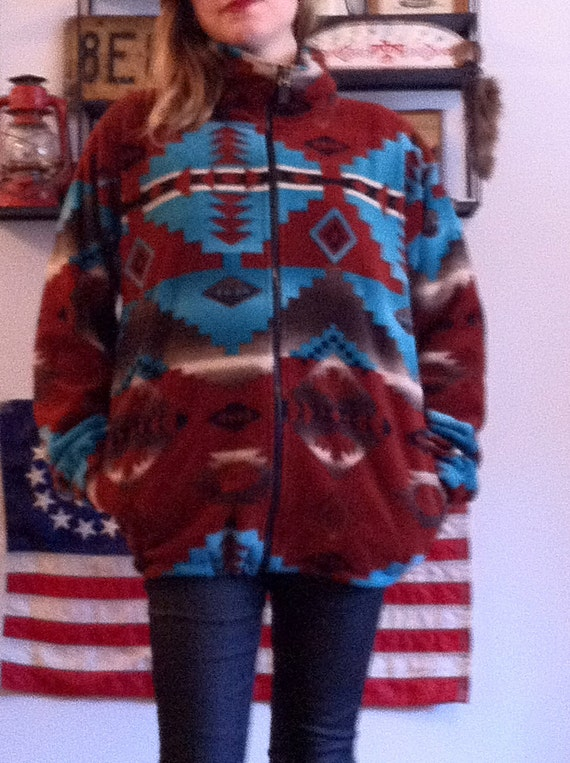 Womens Mens Southwest Sweater Fleece Coat Aztec Navajo Blanket
