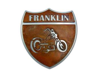 Custom Motorcycle Metal Road Sign
