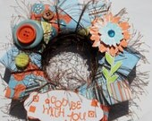 God be with You Blue and Orange Everyday wall hanging wreath