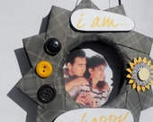 Black and Yellow Love I AM So Happy Picture Frame Wreath