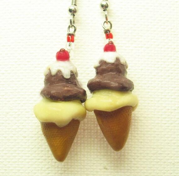 Delicious Chocolate Vanilla Icecream Earrings