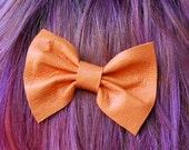 III Pair of little teeny tiny Creamsicle Orange leather hair bows III