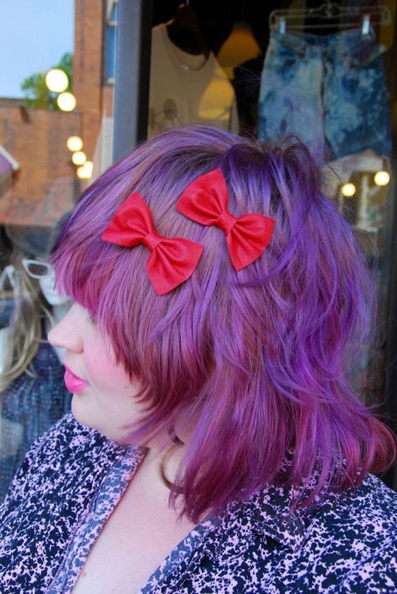 III Pair of Lipstick Red Cutey Baby Hair Bows III