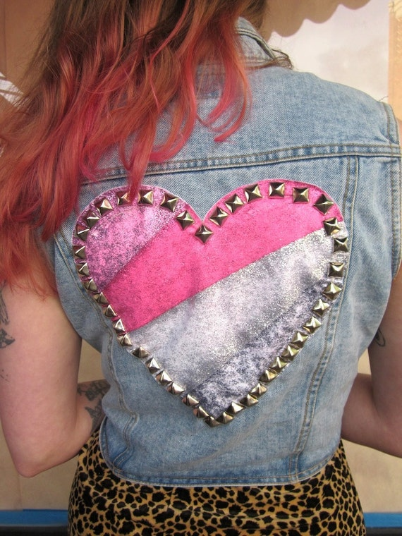 reserved for Kat Bee III Vintage Studded Glitter Heart And Leather Bow Denim Vest III