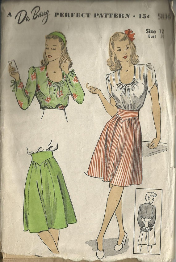 """40's DuBarry sewing pattern 5836, size 12, Bust 30"""", blouse and skirt, complete,precut"""