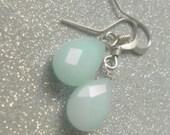 Aqua Blue Candy Jade Dangle Earrings