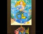 Mermaid Clock with Fish Pendulum