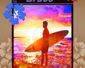 Surf Art Print for Boys Name, Personalized Wall Art, Teen Boy Room Decor