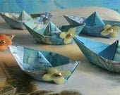 paper boat origami decoration nautical theme flowers  party maps atlas