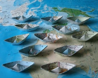 paper boat origami decoration nautical theme party maps atlas 12 boats