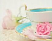Marie Antoinette Tea - 8x10 Fine Art Photo - Teacup, Roses, Stripes - Shabby Chic, Romantic, Love, Tea Party, Candy - Blue and Pink, Vintage - pastelfables