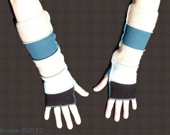 Wool Arm Warmers - Beige, Black, Teal and Light Blue
