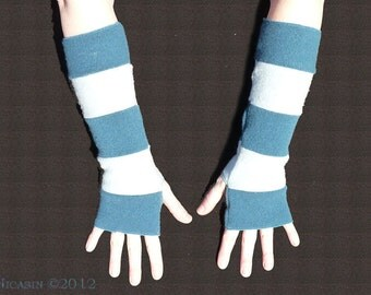 Wool Arm Warmers - Teal and Light Blue