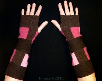 Wool Arm Warmers - Pink and Brown Stripes