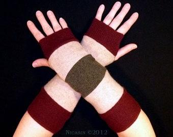 Wool Arm Warmers - Burgundy, Beige and Green