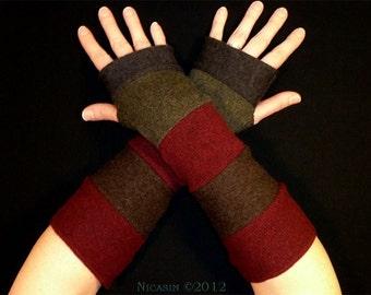 Reversible - Wool Arm Warmers - Burgundy, Green, Brown & Grey