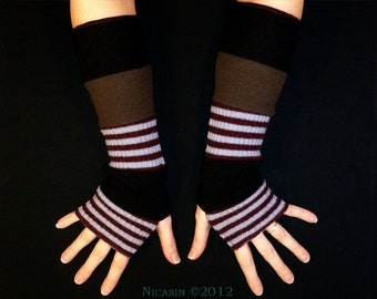 Lambswool Merino Wool Arm Warmer Burgundy Black and Olive Green with Stripes Fingerless Gloves