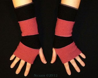 Pink and Black Wool Arm Warmers - Short Reversible